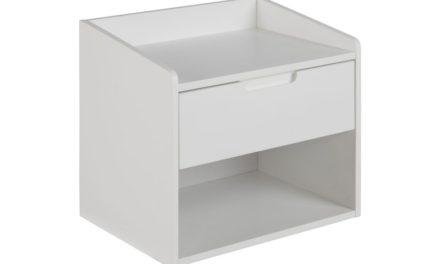 Dimeo natbord – hvidt træ, væghængt, m. 1 skuffe