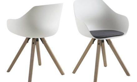Tina spisebordsstol m. hynde – hvid/natur, plastik/gummitræ