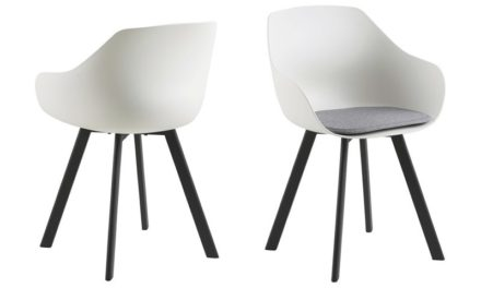Tina spisebordsstol m. hynde – hvid/sort, plastik/metal