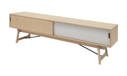 EIK TV-bord – natur/sølvgrå egetræ m. 2 låger