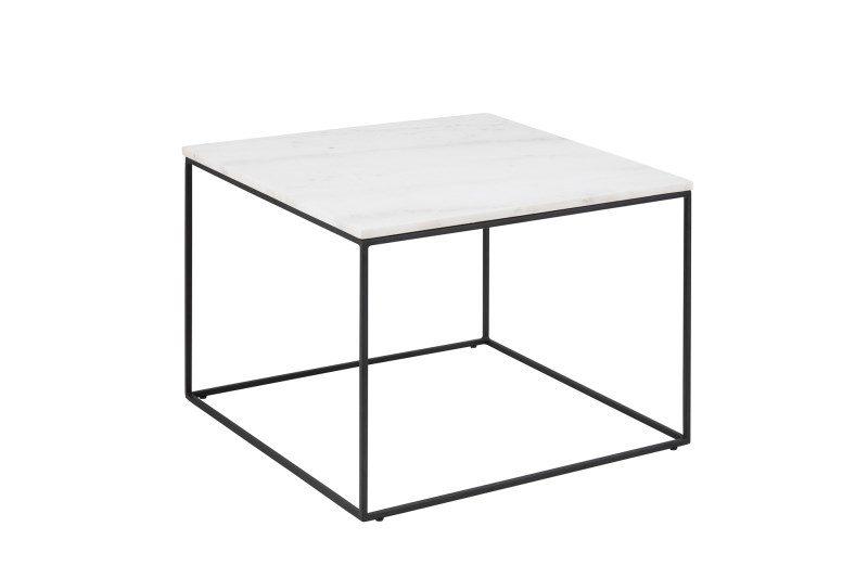 Bolton sofabord – hvid marmor/metal, kvadratisk