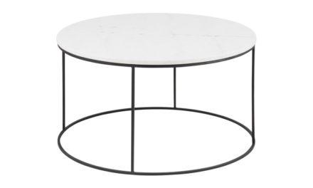 Bolton sofabord – hvid marmor/metal, rund (Ø80)