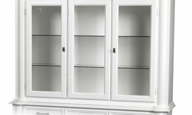 Amadeus vitrineoverdel – hvidt træ, m. 3 glaslåger