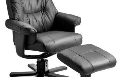 Parma lænestol – sort kunstlæder, incl. skammel