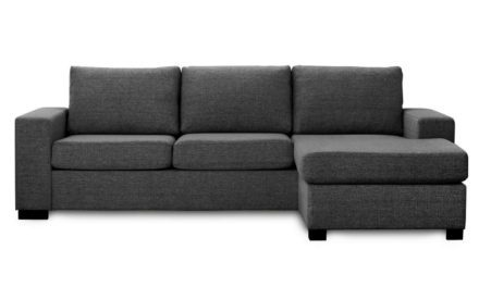 Milan 3 pers. sofa – antracitgrå stof m. chaiselong