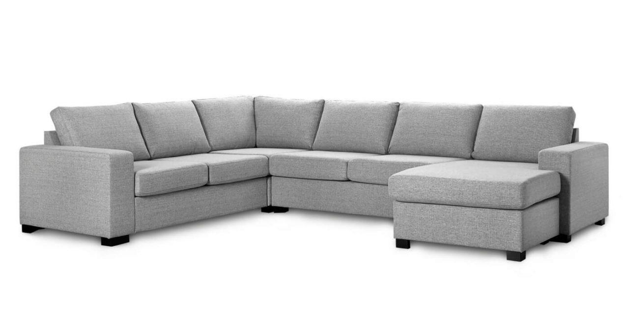 Milan hjørnesofa – lys granitgrå stof, m. chaiselong