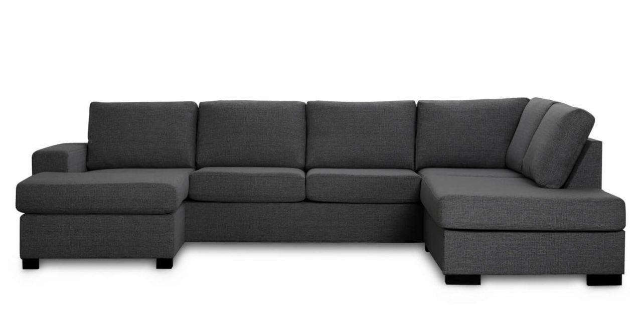 Milan højrevendt U-sofa – antracitgrå stof