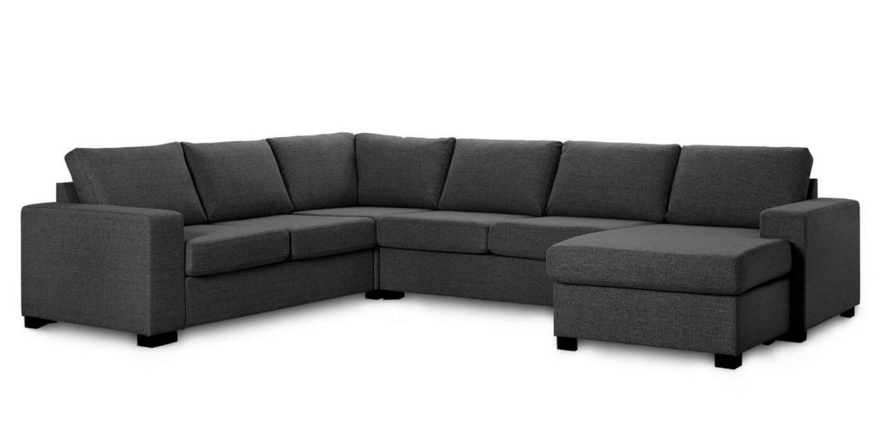 Milan hjørnesofa – antracitgrå stof, m. chaiselong