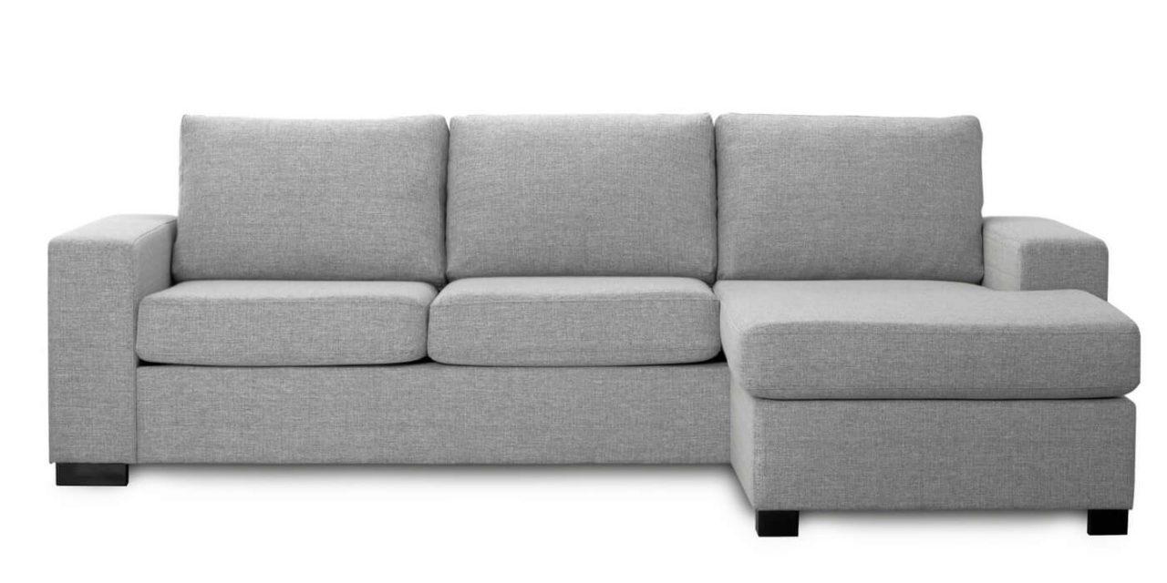 Milan 3 pers. sofa – lys granitgrå stof m. chaiselong