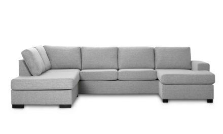 Milan venstrevendt U-sofa – lys granitgrå stof