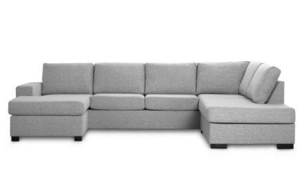 Milan højrevendt U-sofa – lys granitgrå stof