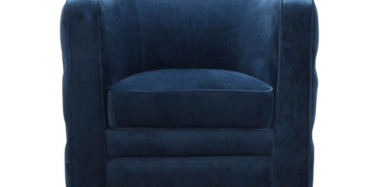 Dublin retro lænestol, blå fløjl stof