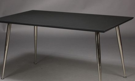 FURBO Spisebord , 100 x 60 cm, sort laminat, metal ben.