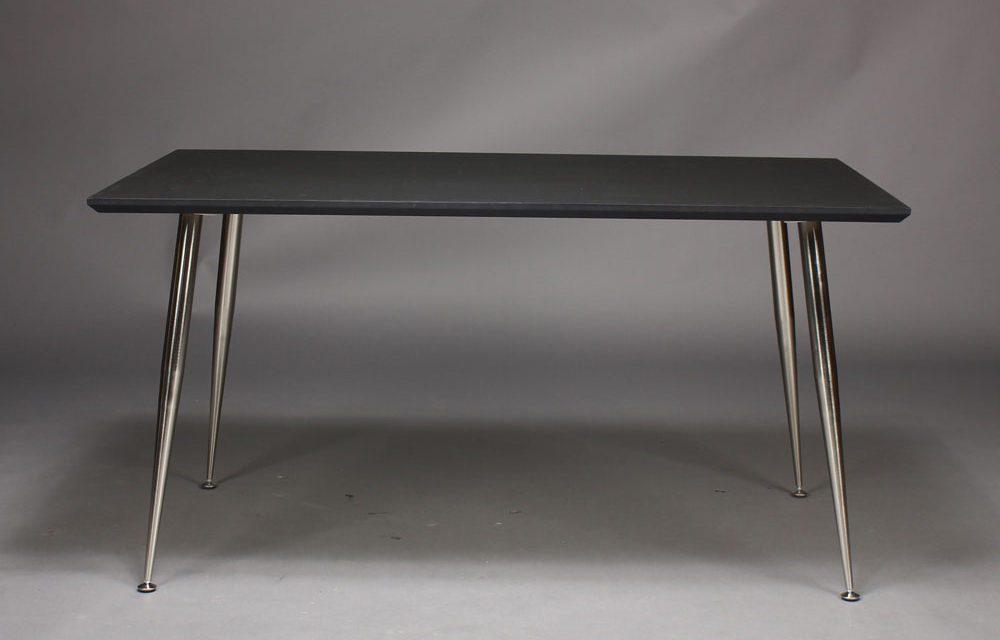 FURBO Spisebord , 140 x 70 cm, sort laminat, metal ben.