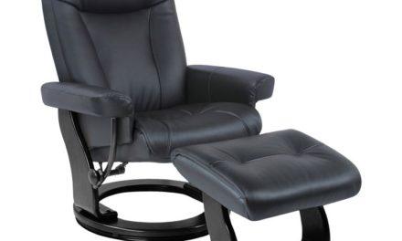 Moderna lænestol – sort kunstlæder, drejesokkel, incl. fodskammel