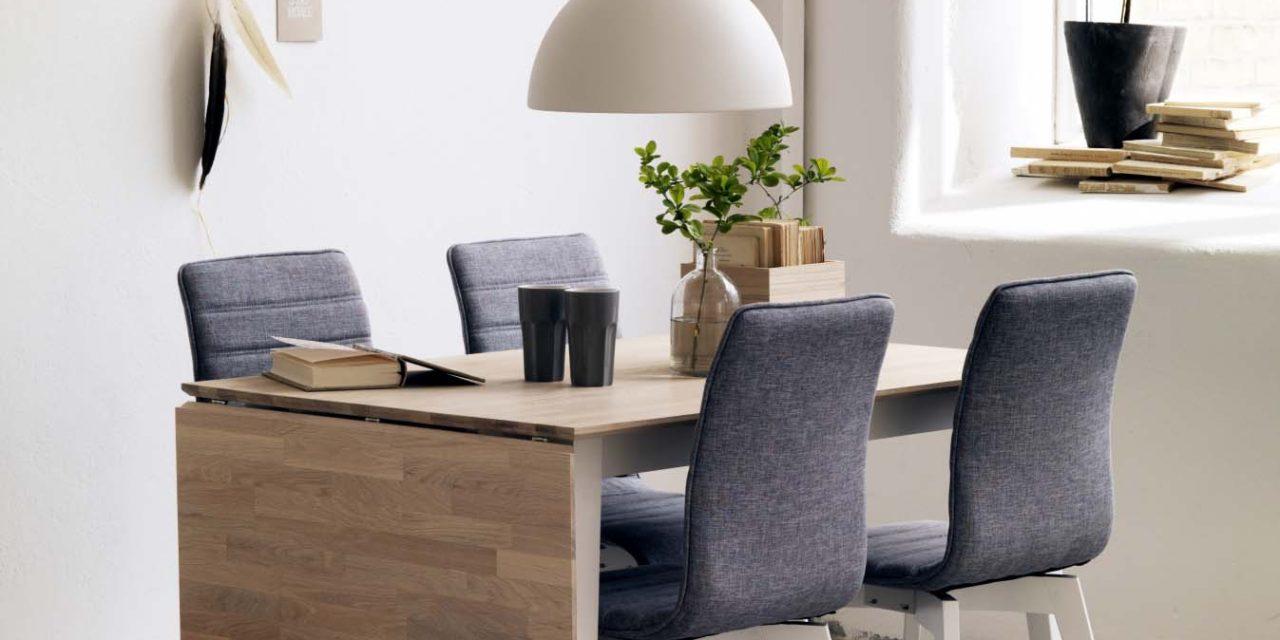 Filippa spisebord – hvidolieret eg/hvid m. klap (80×120+45)