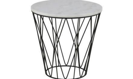 Dudley hjørnebord – hvid marmor/sort metal, rund, (Ø50)