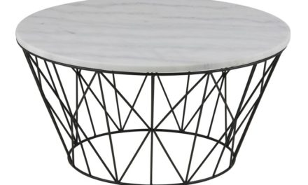 Dudley sofabord – hvid marmor, rundt (Ø80)