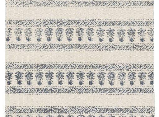 Gulvløber Off white med blåt tryk