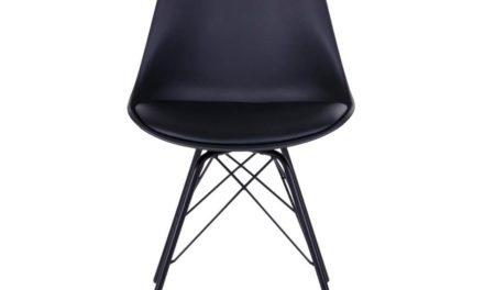 HOUSE NORDIC Oslo spisebordsstol i sort med sorte ben