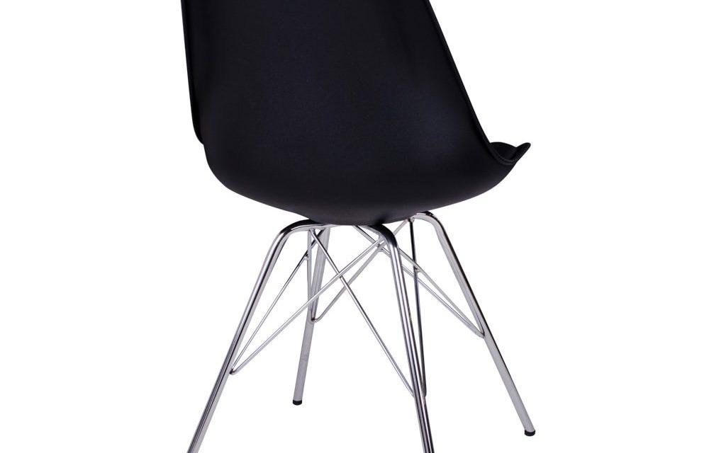 HOUSE NORDIC Oslo spisebordsstol i sort med krom ben
