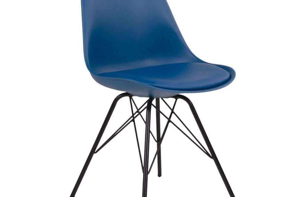 HOUSE NORDIC Oslo spisebordsstol i petroleumsblå med sorte ben