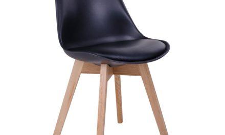 HOUSE NORDIC Molde spisebordsstol i sort med natur træben