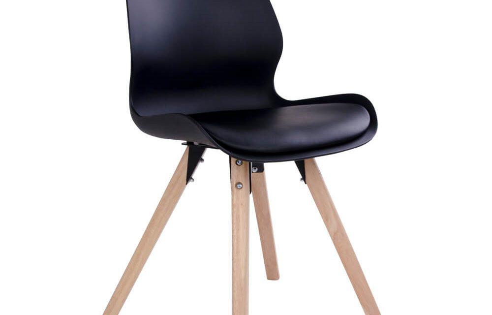 HOUSE NORDIC Rana spisebordsstol i sort med natur træben