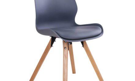 HOUSE NORDIC Rana spisebordsstol i grå med natur træben