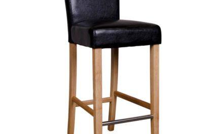 HOUSE NORDIC Boden barstol i sort kunstlæder med natur træben