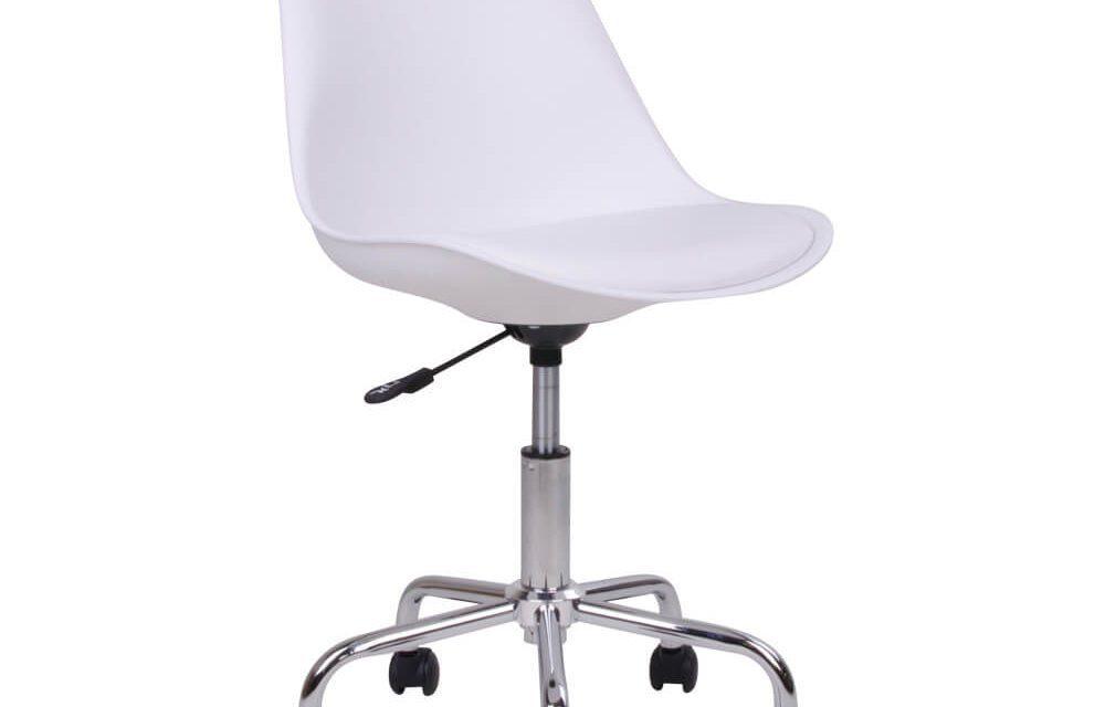 HOUSE NORDIC Stavanger kontorstol i hvidt kunstlæder med krom ben