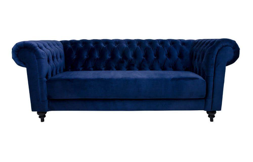 HOUSE NORDIC Chester 3 personers sofa i mørkeblå velour