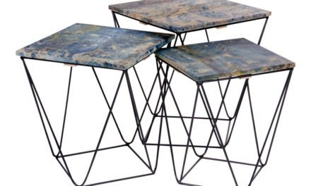 HOUSE NORDIC Ranchi hjørnebord i mangotræ, marmor look blå 3 stk.