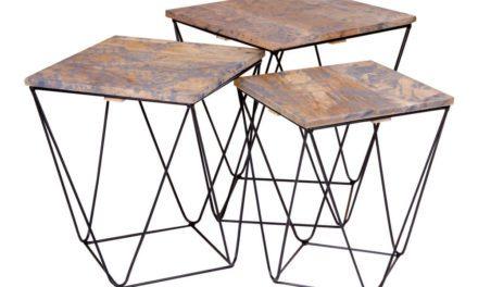 HOUSE NORDIC Ranchi hjørnebord i mangotræ, marmor look grå 3 stk.