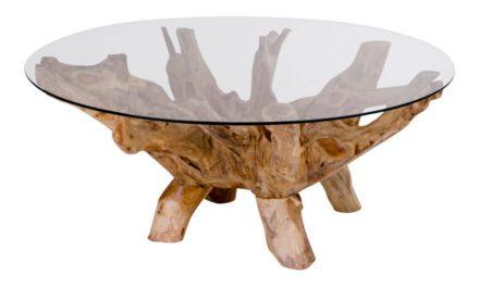HOUSE NORDIC Amazonas sofabord – rundt med glasbordplade