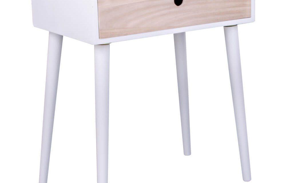 HOUSE NORDIC Parma sengebord i hvid med 1 naturtræ skuffe