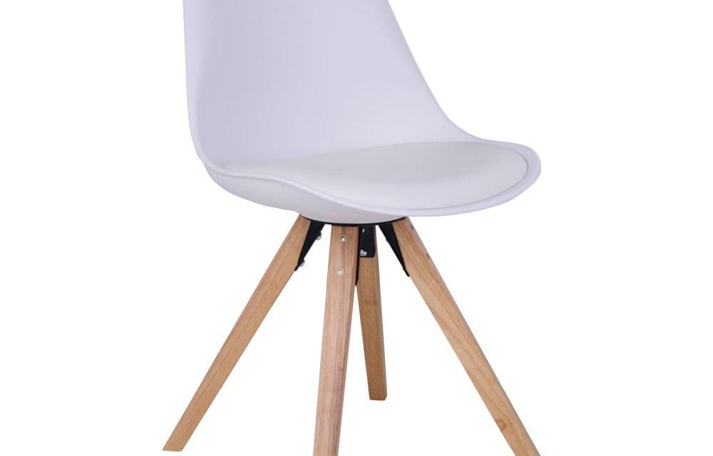 HOUSE NORDIC Bergen spisebordsstol i hvid med natur træben