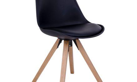 HOUSE NORDIC Bergen spisebordsstol i sort med natur træben