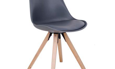 HOUSE NORDIC Bergen spisebordsstol i grå med natur træben