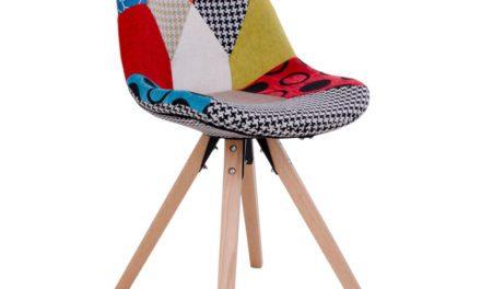 HOUSE NORDIC Sanvik spisebordsstol – Patchwork stol med natur træben