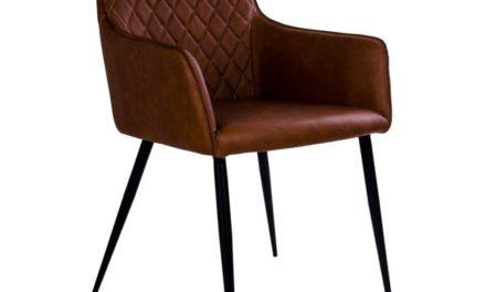HOUSE NORDIC Harbo spisebordsstol med armlæn i vintage brun kunstlæder