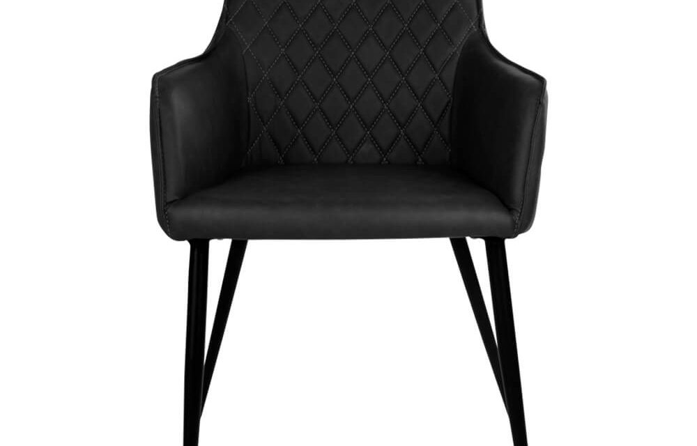 HOUSE NORDIC Harbo spisebordsstol med armlæn i sort kunstlæder