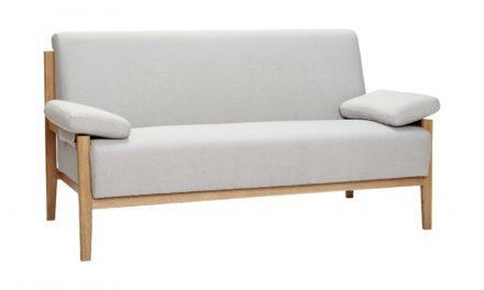 HÜBSCH 2 persons sofa af blåt stof og egetræ