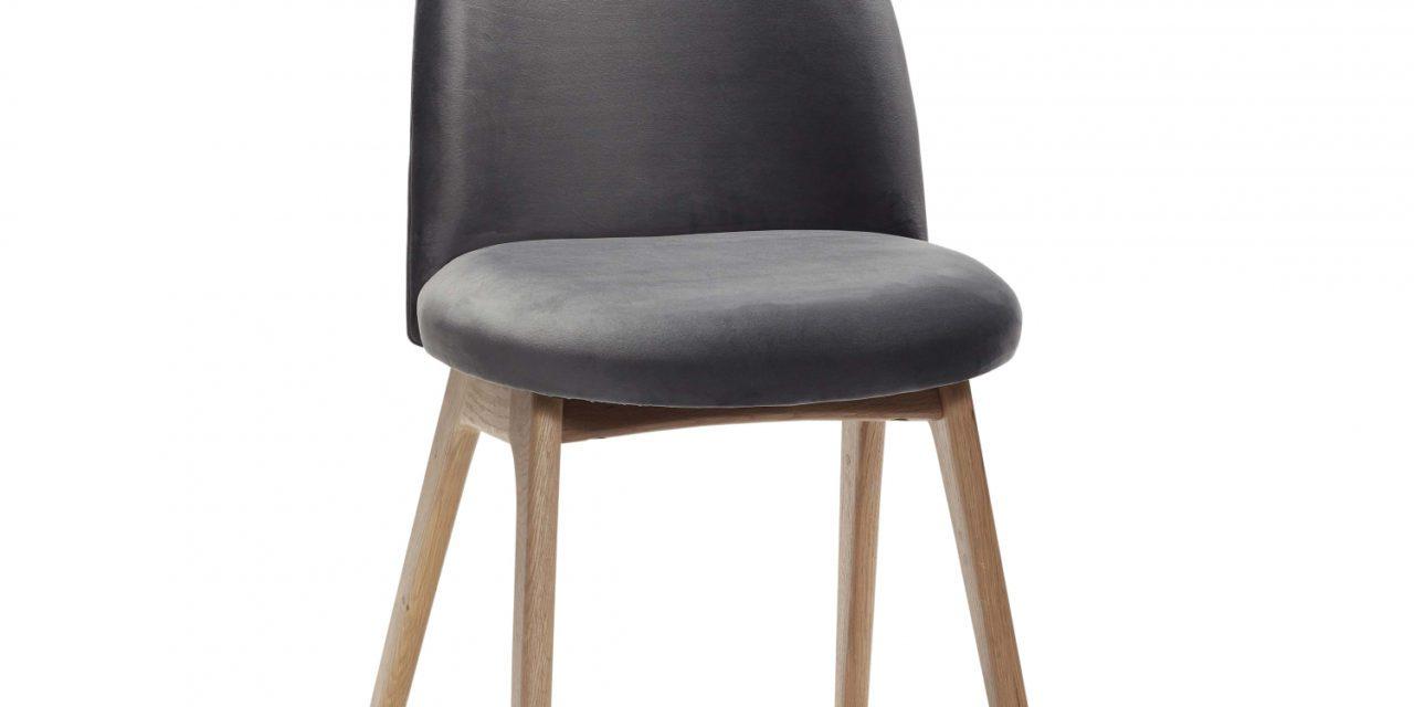 Hüsch spisebordsstol af massiv eg og mørkegrå velour
