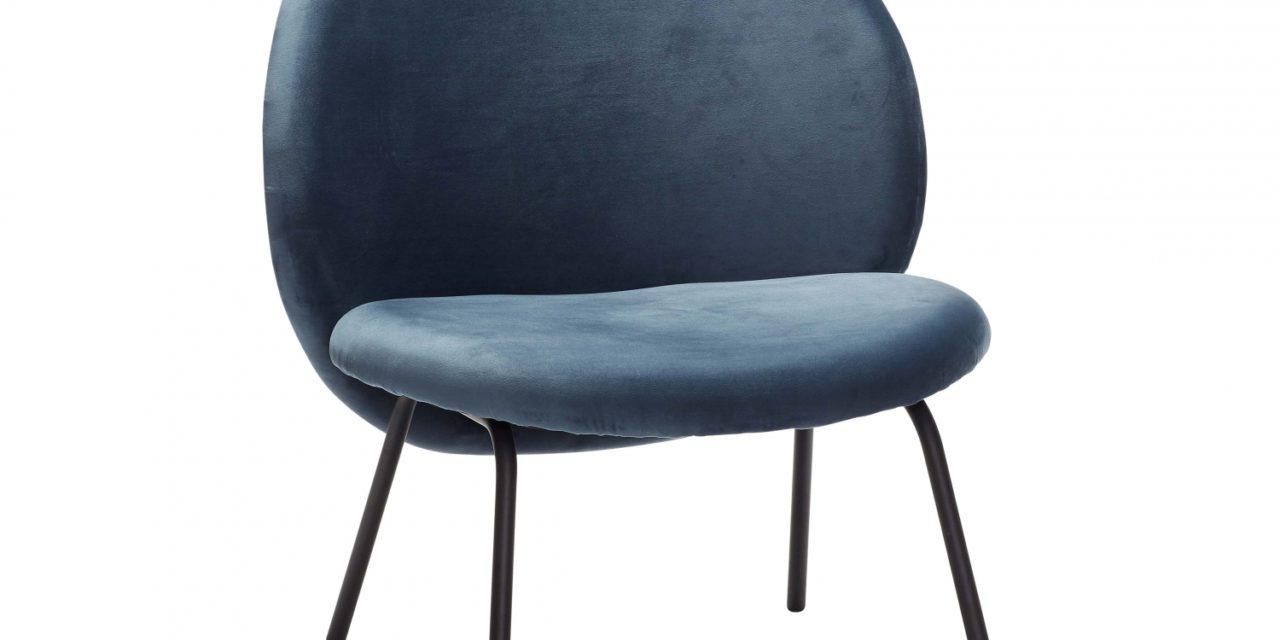 HÜBSCH loungestol, blå velour og sort metal