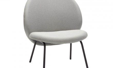 HÜBSCH loungestol, grå stof og sort metal