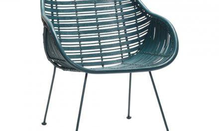 HÜBSCH spisebordsstol m. armlæn, grøn rattan