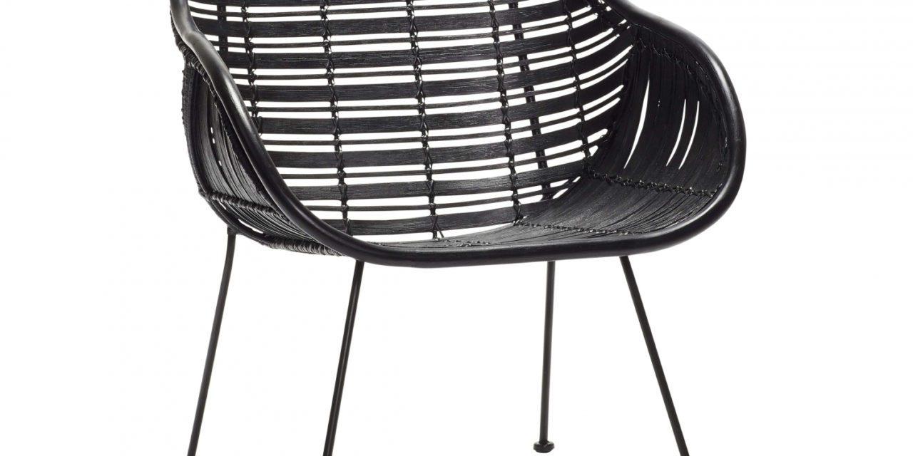 HÜBSCH spisebordsstol m. armlæn, sort rattan