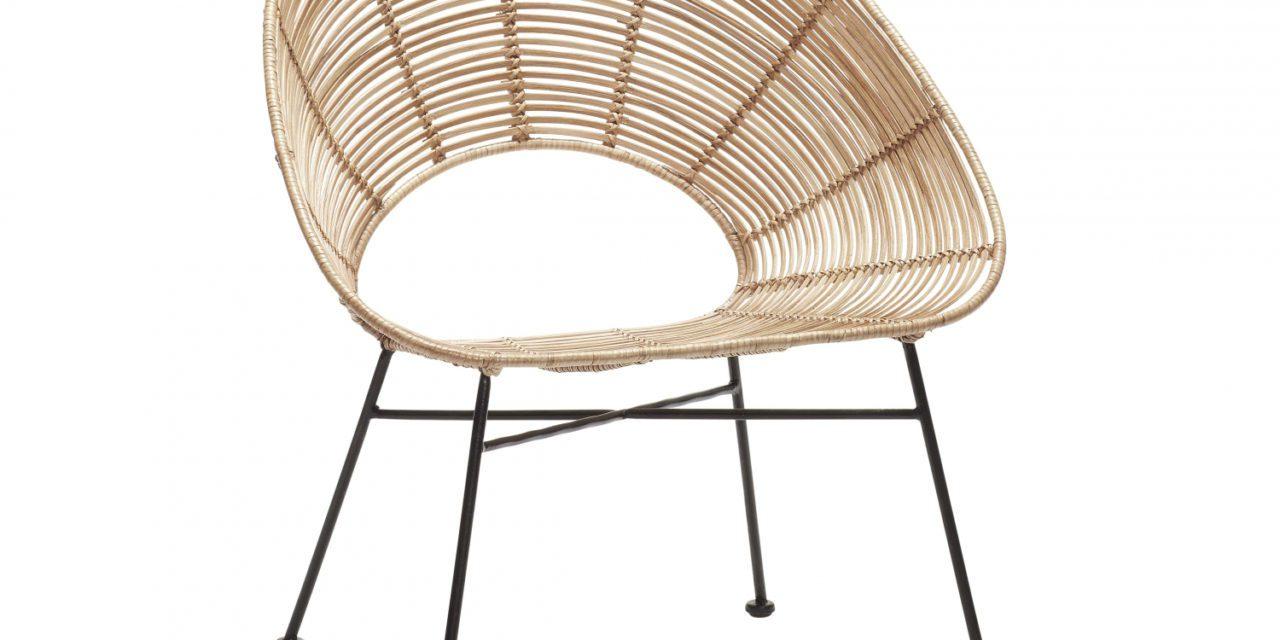 HÜBSCH spisebordsstol m. rund ryg, naturligt rattan
