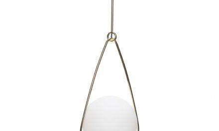 HÜBSCH Loftlampe af hvid glas og messing
